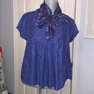 Rebecca Taylor Purple Silk Blouse with Scarf
